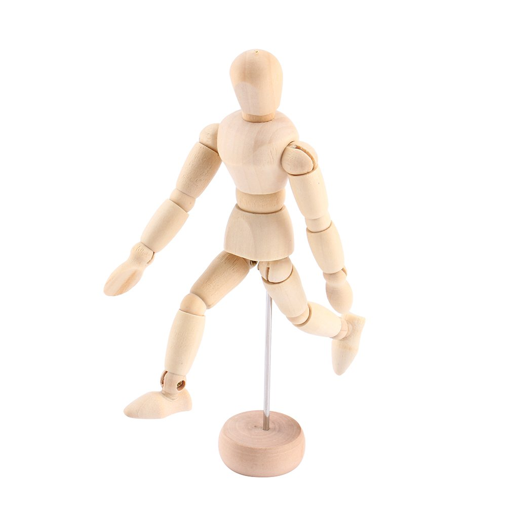 Yosoo 4.5' Artist Male Wooden Figure Model with Movable Limbs for Sketching Drawing Aid Mannequin Manikin (4.5')