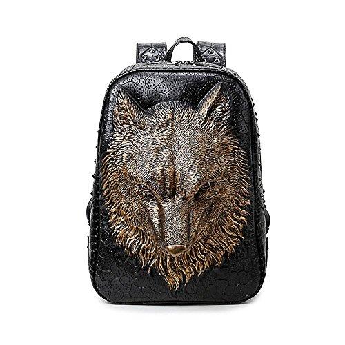 viaje de bolsa ordenador cabeza portátil PU calidad Gold realista Mens de mochila la alta 20 lobo 3D 35L mochila animal de portátil zx6qT7Ew