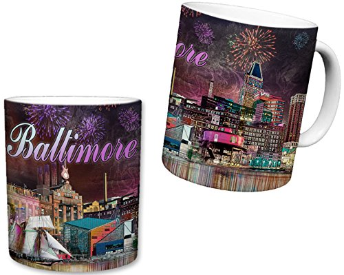 (Sweet Gisele | City of Baltimore Mug | Ceramic Coffee Cup | Downtown Charm City Skyline | Inner Harbor Shot at Night | Beautiful Firework Filled Sky |Great Novelty Gift | 11 Fl. Oz)