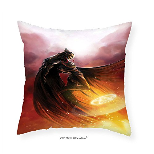 VROSELV Custom Cotton Linen Pillowcase Fantasy World Decor Superhero in His Original Costume Flying Up to Magic Flame Save the World Theme Bedroom Living Room Dorm Decor Yellow Red 28