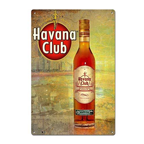 (Vintage Havana Club Rum Tin Sign Metal Sign Door Plaque TIN Sign 7.8X11.8 INCH)