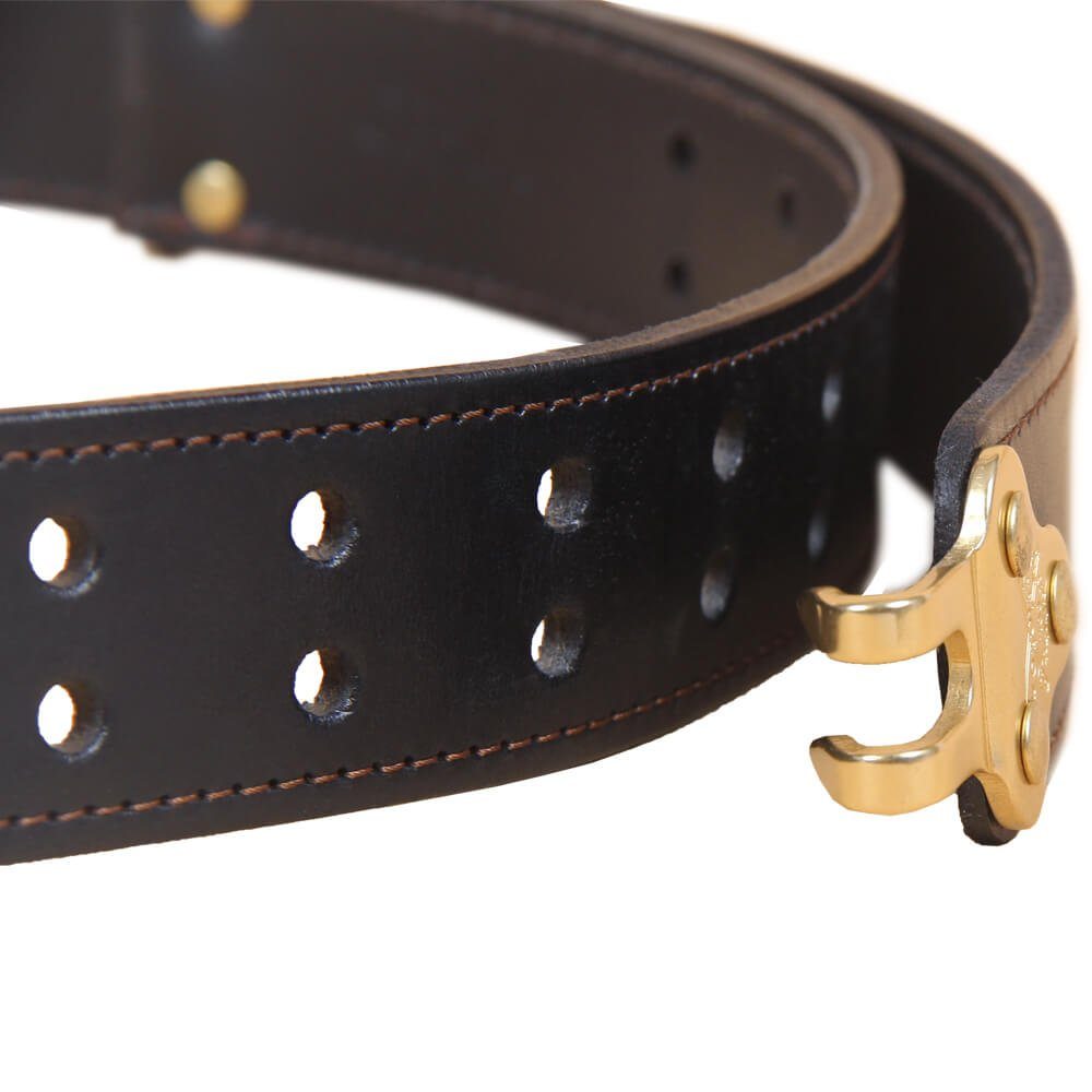 Black Leather Mens Belt Adjustable No. 5 Brass Cinch Buckle Large USA Made Italian Bridle Unique Design 1 3/8 in wide by Col. Littleton (Image #6)