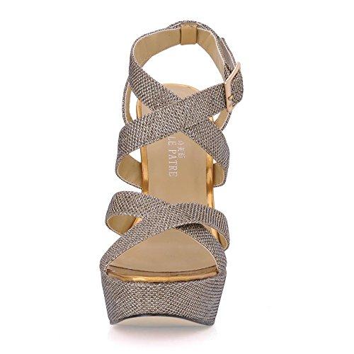 Stiletto Peep 14CM Autumn Best Toe Glitter Golden Women's 4U Rubber Heels High Shoes Heel Sole Spring BIIvy8qO