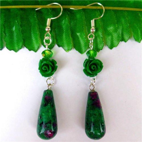 2511 Green - Gozebra(TM) 1Pair 2511mm Green&Rose Ruby in Fuchsite Teardrop Pendant Earrings 70mm HH5277