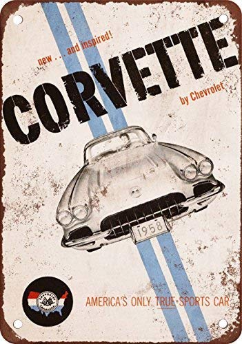 (HTFDS 1958 Corvette Vintage Look Reproduction Metal Tin Sign 8x12 Inches)