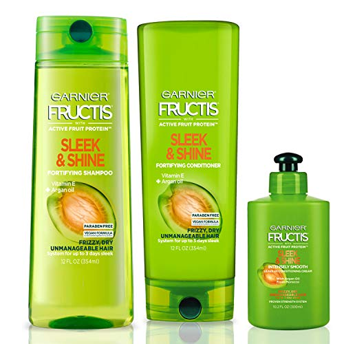 Garnier Hair Care Fructis Sleek & Shine Shampoo, Conditioner, and Leave In Conditioner Treatment, For Frizzy, Dry Hair, Paraben Free, 1 Kit