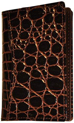 Budd Leather Croco Bidente Gusseted Business Card Case, Brown