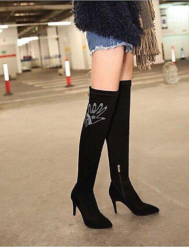 5 Black Cn38 Zapatos Moda Negro Black Eu38 Stiletto Tacón Xzz Botas Cn35 Uk3 Mujer Exterior La us5 5 Ante De Puntiagudos Casual 5 Uk5 A 5 us7 Eu36 Hxzqn6Rd