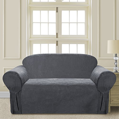 CLEAR OUT SALE Elegant and Comfortable P&R Bedding Microsuede Sofa Furniture Slipcover (Gray, Loveseat) (Loveseat Couch Covers)