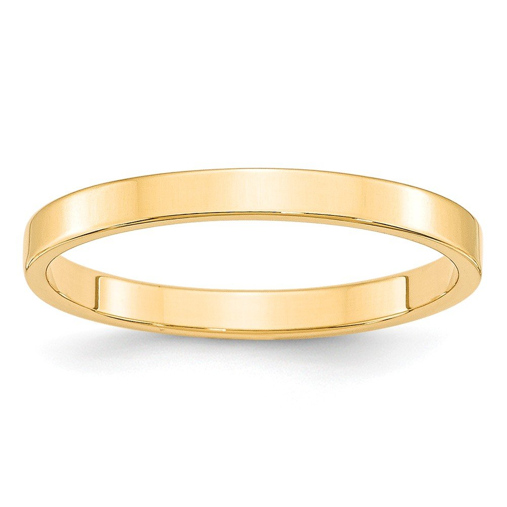Solid 14k Yellow Gold 2.5mm Flat Wedding Band