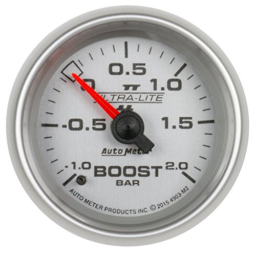 AutoMeter 4903-M2 Ultra-Lite II Mechanical Boost/Vacuum Gauge 2-1/16 in. Silver Dial Face Fluorescent Red Pointer White LED Lighting Mechanical-1-+2 BAR Ultra-Lite II Mechanical Boost/Vacuum Gauge - Autometer Ultra Lite Boost