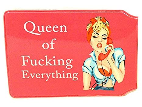 Queen of F***ing Everything Slim line Bus Pass Wallet Credit Travel Rail Ticket Card Holder for Oyster Business ID Card (1x Wallet)