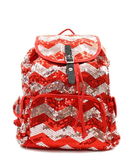 Chevron Sequin Backpack Red/silver (Chevron Sequin Backpack)