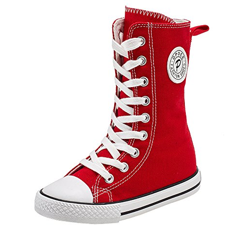 iFANS Girl Tall Punk Canvas Sneakers Lace up High Boots(Toddler/Little Kid/Big Kid) Red