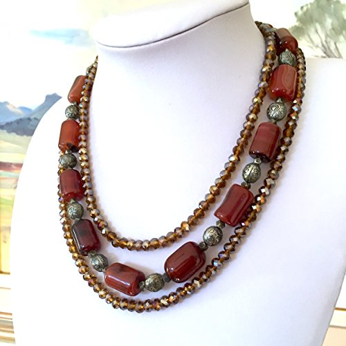 Caramel Agate (Bronze-Caramel AGATE Gemstones, Bronze Swarovski Crystals, 3 Strands Statement Necklace Jewellery!)