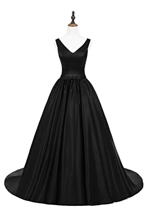 71b202464c3b ZVOCY Backless Evening Prom Dress Long Ruched Satin Formal Gown Bridesmaid  Masquerade Ball Gowns Black 2