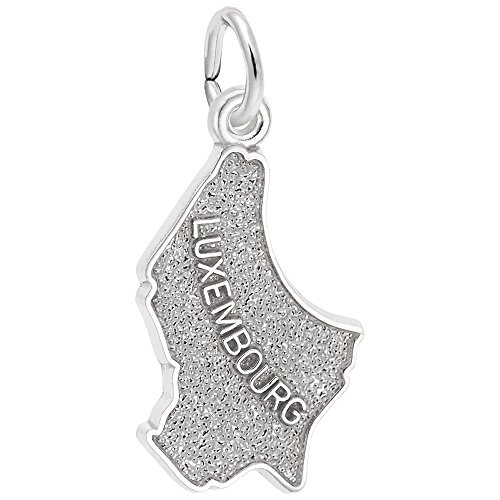 Luxembourg Map Charm In Sterling Silver, Charms for Bracelets and Necklaces