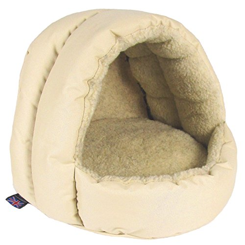PL-Superior-Pet-Beds-Sherpa-Fleece-Lined-Hooded-Cat-Beds-38-x-36-x-33-cm-Cream