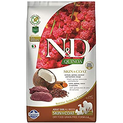 Farmina Natural & Delicious Quinoa Functional Skin and Coat Venison Coconut and Turmeric Adult Dry Dog Food 5.5 Pounds