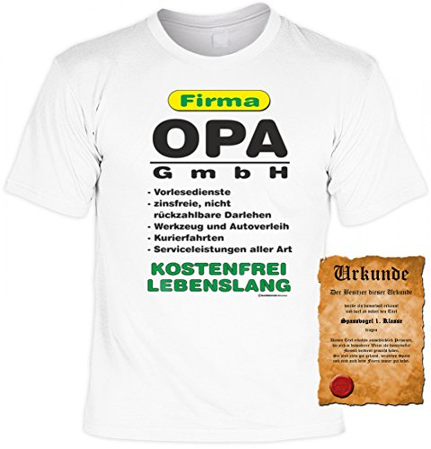 T-Shirt als Geschenk für den Vater / Opa - Firma Opa GmbH - Inkl. Urkunde 'Bester Vater der Welt'