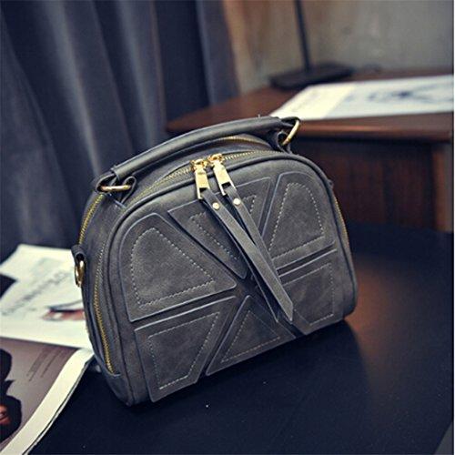 UNKE Women Tassel Messenger Bags Handbag Shoulder Messenger Crossbody Shell Bags ,Gray