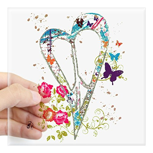Square Sticker Clear 3 x 3 Inch Flowered Butterfly Heart Peace Symbol