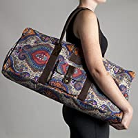 Kindfolk Yoga Mat Tote Bag Carrier Patterned Canvas with Pocket and Zipper