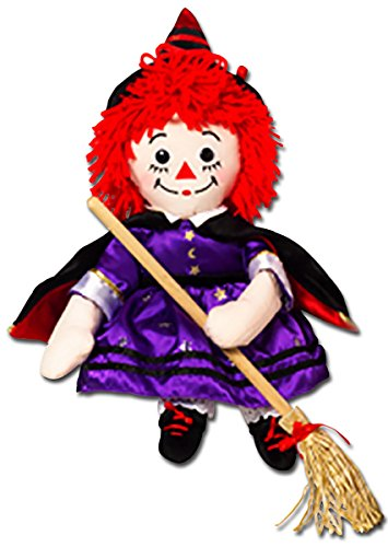 Halloween Raggedy Ann Witch with Broom Rag Doll -