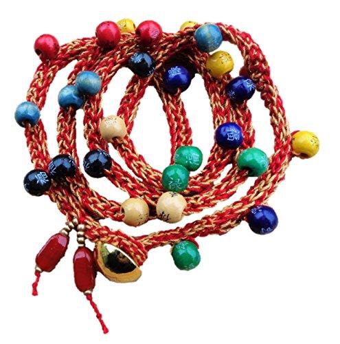 Wood Dragon Belt - Woven Bead Dragon Bracelet, Brass Button Toggle Close - Choker - Necklace - Belt