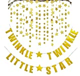FECEDY Gold Twinkle Twinkle Little Star Banner 2pcs Sparkling Star Garland Party