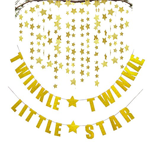 (FECEDY Gold Twinkle Twinkle Little Star Banner with 2pcs Sparkling Star Garland for)