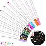 YoungRich 12 Pieces Metallic Paint Markers Pens Set 12 Assorted Colors for Art Drawing DIY Scrapbooking Photo Album Gift Card Applicable to Kids Adults