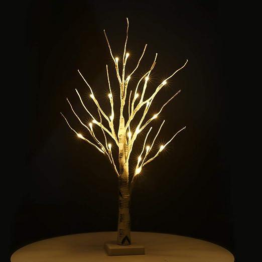 ✌LDD Lámpara de pie Árbol de Pascua con luces Abedul plateado ...