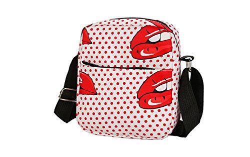 and for Purse Girls Crossbody Women Canvas Dot Bag Bag Nawoshow Messenger Shoulder Bag Small Lip qPngxvz