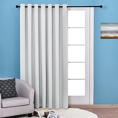 NICETOWN Grommet Top Thermal Insulated Solid Room Darkening Curtain / Drape for Sliding Door, Patio Door Curtain Panel (One Panel,W100