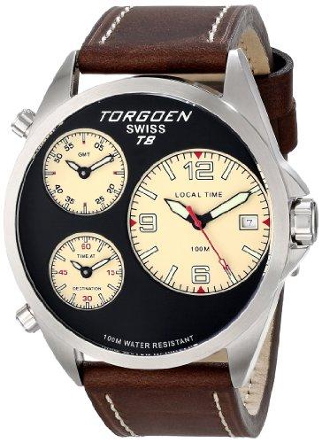 Torgoen Swiss Men's T08103 T8 3 Time Zone Aviation Watch
