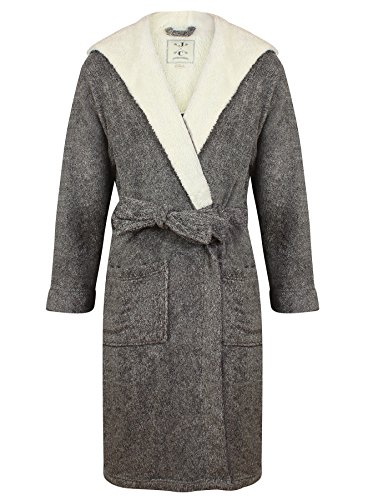 John Christian Men's Hooded Fleece Robe Dark Gray Marl (M)
