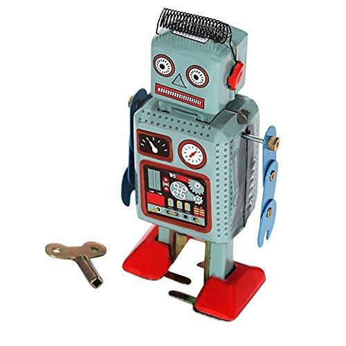 EITC Retro Classic Wind-up Robot Clockwork Spring Metal Walking Robot Vintage Mechanical Kids Children Toy Gift (Classic Wind Up Robot)