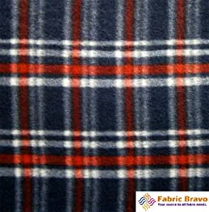 navy blue red rect ii anti pill plaid fleece fabric 60 inches wide and sold by. Black Bedroom Furniture Sets. Home Design Ideas