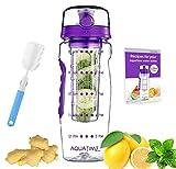 Time Marked Fruit Infuser Water Bottle AQUATIME Large 32 oz – Free Brush