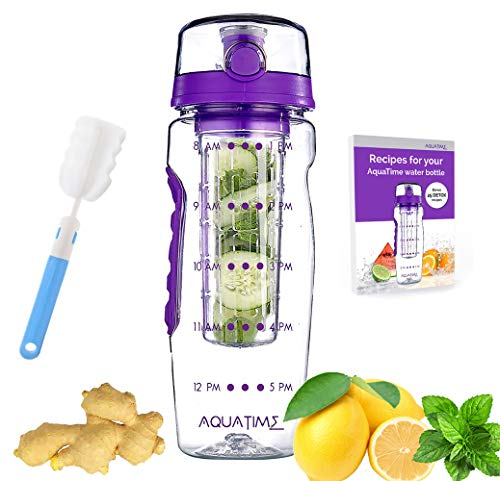 AQUATIME Time Marked Fruit Infuser Water Bottle Large 32 oz - Free Brush for Easy Clean - Convenient to Carry - Leak Proof - FDA Approval BPA Free & Eco - Friendly Tritan copolyester Plastic - Purple