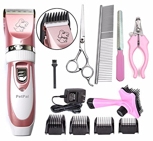 51G%2BOAX8 FL - PETPAL Low Noise Rechargeable Cordless Pet Dogs and Cats Electric Clippers Full Grooming Trimming Kit Set with Oil
