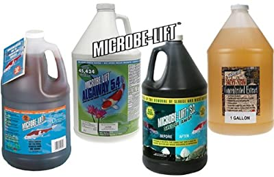 Pond Treatment LineUp Microbe-Lift PL + Algaway 5.4 + Sludge Away + Barley Straw Extract