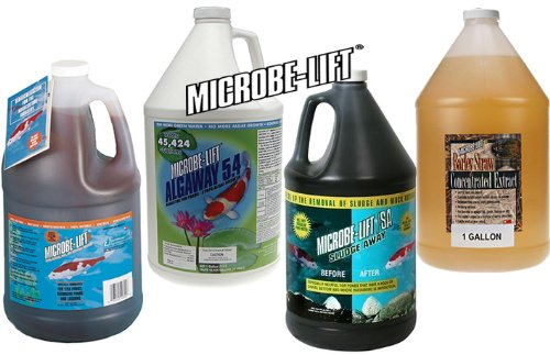 Pond Treatment LineUp Microbe-Lift PL + Algaway 5.4 + Sludge Away + Barley Straw Extract Algaway 5.4 Control
