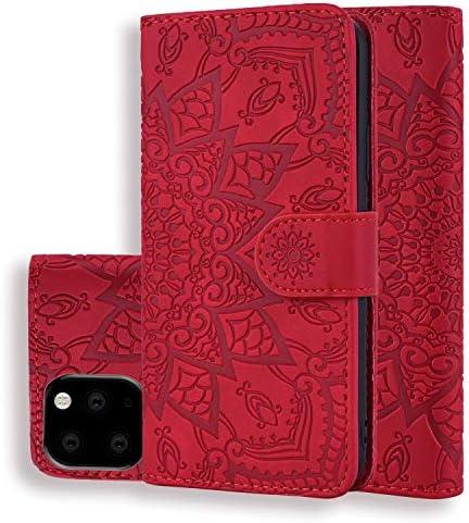 アップルiphone11Pro Maxケース 手帳型, カード収納 財布型 立ってカバー,iphone11Pro Max PUレザー全面保護 耐衝撃 耐摩擦,太陽の花柄 iphone11Pro Max ケース手帳型(赤)