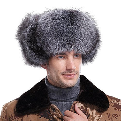 Men's Silver Fox Fur & Leather Trapper Hats Natural Color by URSFUR