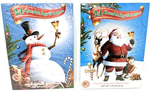 24 Chocolate Days till Christmas Advent Calendar - 2 Pack Santa and Snowman