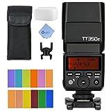 Godox TT350F 2.4G HSS 1/8000s TTL GN36 Camera Flash Speedlite for Fuji Cameras X-Pro2 X-T20 X-T2 X-T1 X-Pro1 X-T10 X-E1 X-A3 X100F X100T with Color Filters and Mcoplus cloth