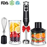 Powerful 4-in-1 Immersion Hand Blender Set, 500W Multi-Speed Heavy Duty Pure Copper Motor, Stainless Steel Finish, Includes Food Chopper, Egg Whisk Attachment, BPA-Free Beaker, Black