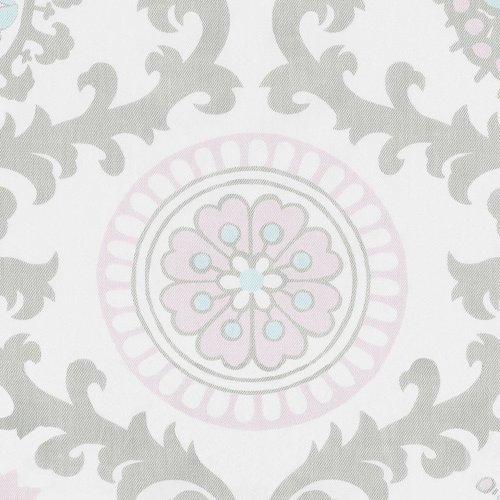 Pink and Gray Rosa Crib Skirt 20-Inch Two-Pleat with 4-Inch Trim